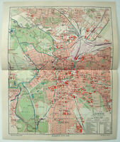 Original 1908 City Map of Leipzig, Germany by Meyers. Antique
