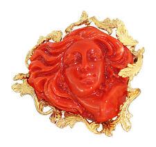 Korallenbrosche Damenantlitz Koralle - Brosche Gold 750 - Goldbrosche 18 Karat