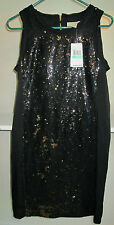 NWT SIZE 8 MICHAEL KORS BLACK GOLD SEQUIN RAW EDGE DRESS MSRP 140.00