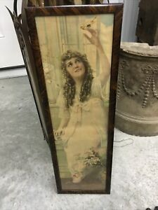 ANTIQUE ART DECO 1920s MARY PICKFORD PRINT IN ORIGINAL FRAME LADY W/ BIRD LOVELY
