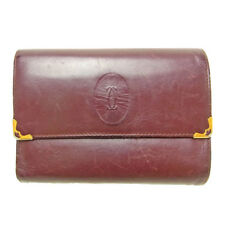 Cartier Wallet Purse Bifold Mastline Red Woman Authentic Used D262