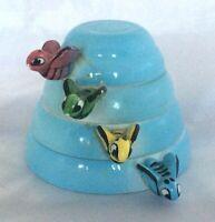 Vintage 50s Blue Menschik Goldman Beehive 4 Ceramic Measuring Cups Bee Handles