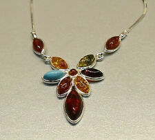 Turquoise & Mixed Amber Gemstones set Sterling Silver Flower Necklace Pendant