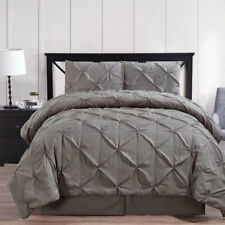 Contemporary Gray Oxford Pleated Comforter Set