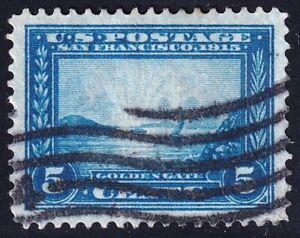 US STAMP #399 5c blue 12p. Panama-Pacific 1913 USED STAMP   - SUPERB -