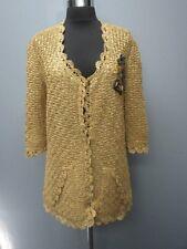 OSCAR DE LA RENTA Golden Tan Silk Half Sleeve Snap Front Sweater NWT Sz L DD6671