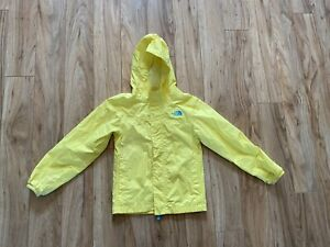North Face Girls Yellow Rain Jacket. Sz 7-8. GUC