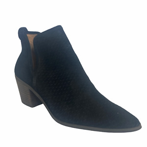 Lucky Brand Ankle Boots Women's Size 7.5 M Black Suede Leather Wedge Mint