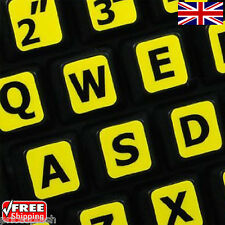 English US LARGE LETTER Yellow Keyboard Stickers & Black Letters Laptop Computer