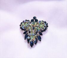 Vintage JULIANA Blue Aurora Borealis & Royal Blue Rhinestone Pin Brooch 2 3/8""