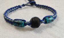 Ceramic & Glass Beads Hemp Bracelet Friendship Handmade Surfer Boho Blue
