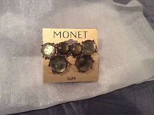 Monet Opalescent Abalone Green Clip Earrings NWOT!