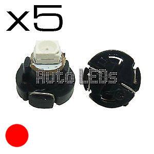 5 Red SMD LED T4.2 Neo Wedge 12v Interior LED Bulb