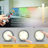 6pcs LED RGB Under 30LM Cabinet Night Light Dimmable Touch Sensor Wardrobe Lamp