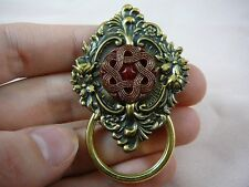 (E-698) red gold flower Czech button Eyeglass pin pendant id badge holder