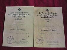 WW11 German Certificate for the Iron Cross First Class