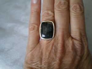 Picasso Jasper ring, size N/O, 18 carats, in 6.54 grams of 925 Sterling Silver