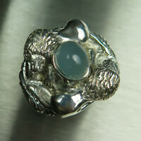 5.9ct Natural Cats eye Aquamarine 925 silver /9ct 14k 18k Gold lions unisex ring