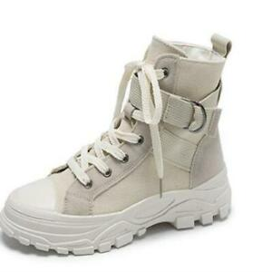 Womens Chunky High Top Canvas Sneakers Ankle Boots Hiking Desert Combat Shoes
