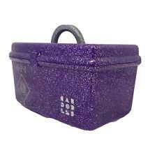 Purple Glitter Caboodles California O P I Box Mirror Make Up Case Vintage 80's