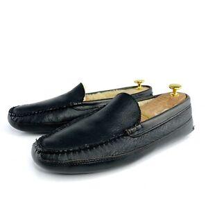 Allen Edmonds Woodbury Shearling Lined Leather Men Slippers Black Size US 11