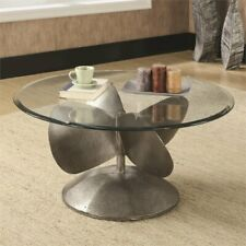 Coaster Round Glass Top Coffee Table in Aged Metal