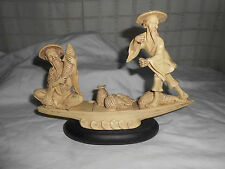 Nice cast stone? resin? Asian, Chinese fisherman on boat figure