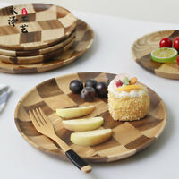 Checked Wooden Tea Tray Round Bread Pan Dessert Saucer Plate Food Serving Modern