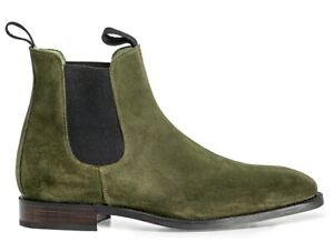 Handmade Chelsea Suede Boots, Chelsea Boot For Mens Green Fashion Ankle Boots