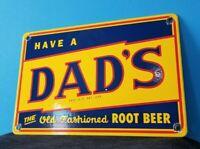 VINTAGE DAD'S ROOT BEER PORCELAIN GAS SODA BEVERAGE BOTTLES SERVICE SIGN