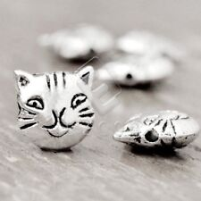 50pcs Tibetan Silver Loose Spacer Beads Charm Jewelry Cat 11x11x5mm HCTS3169