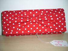 ROCKABILLY UNIQUE red/white cotton spotted clutch bag,  fully lined BN. UK made