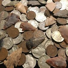 ✯ Native American Coin Artifact Lot ✯ Indian Head Cent Buffalo Nickel Arrowhead✯