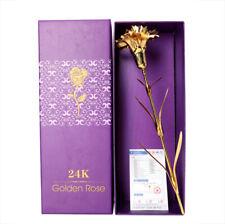 Romantic Forever Rose/Carnation 24K Gold Plated Flower Birthday Gift Home Decor