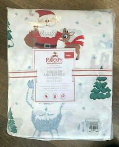 Pottery Barn Kids Organic COTTON Rudolph reindeer and Bumble Sheet set FULL