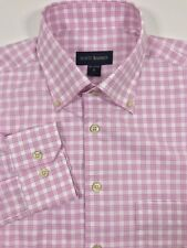 Scott Barber Twill Button Down Dress Shirt Pink White Olive Check M