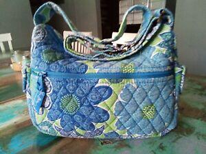 Vera Bradley Women's Blue/Green Doodle Daisy Zipper Close Shoulder Tote Bag