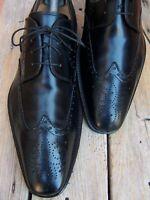 MAGNANNI Mens Dress Shoes Elegant Black Leather Lace Up Wingtip Oxfords Size 9M
