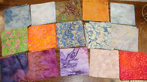 """167 Mixed Lot Watercolor Batik Fabric Squares 3 1/2"""" & 3"""" Squares"""
