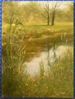 Erich Puls Öl auf Sperrholz signiert Frühling am Tümpel B25475