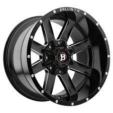 """4-NEW Ballistic 959 Rage 22x12 5x5""""/5x5.5"""" -44mm Black/Milled Wheels Rims"""