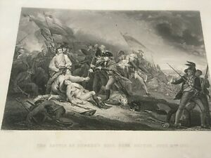 1877 Antique Engraving THE DEATH OF GENERAL WOLFE [QUEBEC]