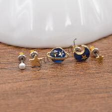 5 Pcs Womens Enamel Moon Stars Universe Asymmetric Stud Earrings Jewellery Charm