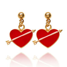 Romantic Love Sign Dark Red with Arrow Fashion Drop Dangle Studs Earrings E1338