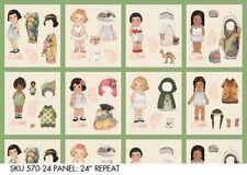 """Ethnic Paper Doll Fabric panel 24"""" x 44"""" wide NEW 8 Dolly Dingle cotton quilting"""