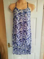 ELLA MODA LONG LINEN DRESS CORNFLOWER BLUE BALLOON HEM SHORT SLEEVED BNWT