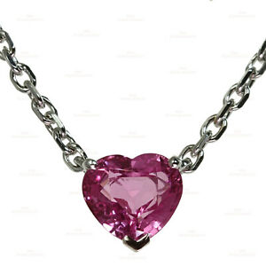 Lovely CARTIER Pink Sapphire Heart 18k White Gold Necklace Papers
