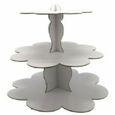 NEW 3 Tier Cardboard Cupcake Stand White Kids Party