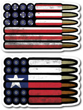 2 Texas Bullet Ammo State American Us Flag Vinyl Decal Bumper Sticker Car Window