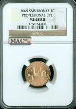 2009 CENT PROFESSIONAL NGC MAC MS68 RED SMS 95% COPPER 2ND FINEST REGISTRY *